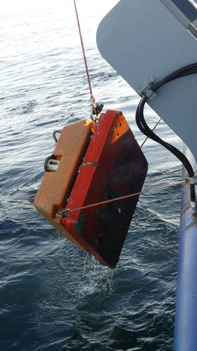 Successful anchor recovery at the OOI Pioneer Array aided by the Falcon.  (Photo by Rebecca Travis, Woods Hole Oceanographic Institution)