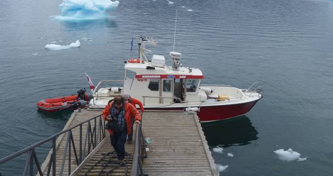 The survey of Ikka Fjord was conducted between the 20th and 21st June 2019, with the first day spent partly on training and familiarizng the cox with the survey requirements and reconnaissance to identify navigation hazards in the fjord caused by the columns and rock skerries as well as some acquisition. The second day was spent entirely on acquisition followed by demobilization of the spread from 'Siku'. Image: Courtesy Norbit