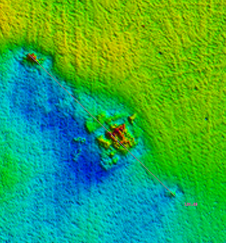 Surveyers onboard NOAA Ship Thomas Jefferson produced this multibeam sonar image of the Walker wreck. (Credit: NOAA)