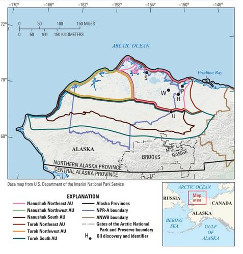 This map shows the assessment units of the USGS assessment of the National Petroleum Reserve-Alaska and adjacent state and Tribal lands and waters. (Image: USGS)