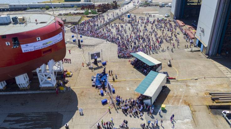 Thousands gathered to witness the launch of the RRS Sir David Attenborough hull on July 14. (Photo: BAS)