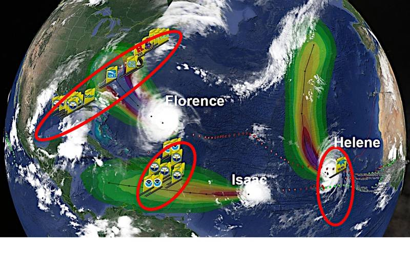 Fig. 5: Three picket lines of Hurricane Sentinel gliders were at work on the same day in 2018. Credit: Teledyne Marine
