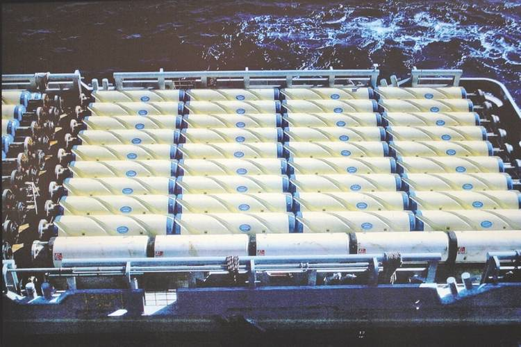 Sea transport of drill riser buoyancy modules integrated with inverted helical grooves. (Image: Trelleborg)
