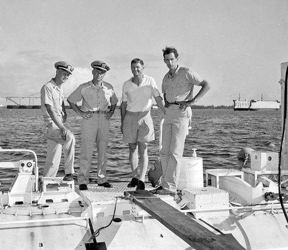 Trieste Project Nekton leadership at Guam 1959.  Left to Right: Larry Shumaker; Don Walsh; Dr. Andy Rechnitzer, Program Manager and Chief Scientist; and Jacques Piccard. Photo Courtesy Don Walsh