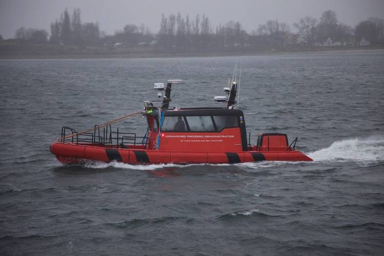 A TUCO Marine support vessel taking part in tracking systems testing in Faaborg, Denmark in December 2019. (Photo: DTU)