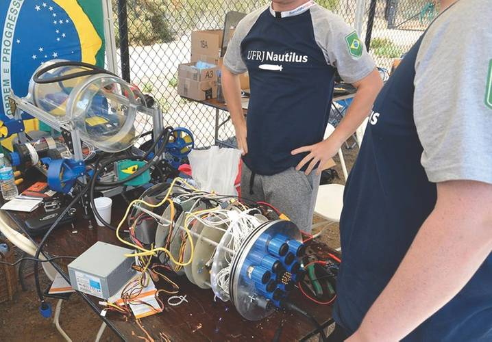 UFRJ Nautilus AUV undergoing maintenance at the RoboSub in San Diego. (Image: UFRJ Nautilus)