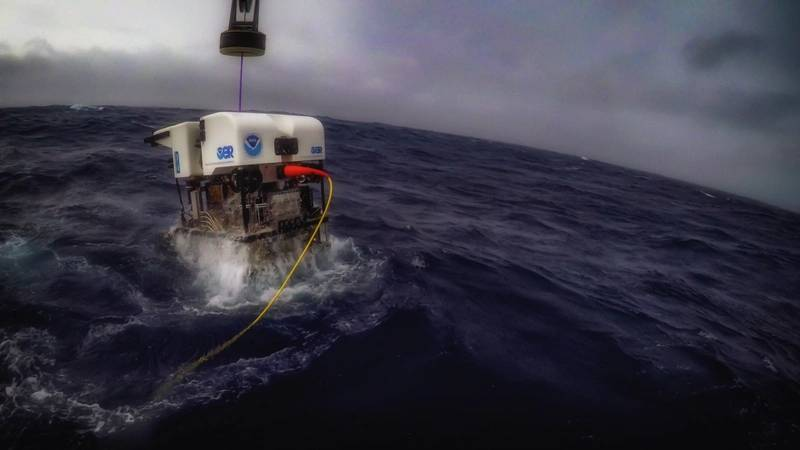 The underwater robot Deep Discoverer is recovered after a dive. (Photo: Art Howard/GFOE)