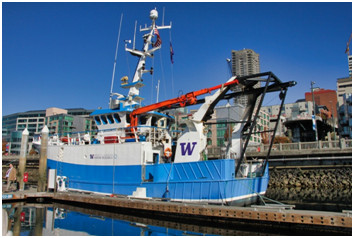 The University of Washington's new research ship, RV Rachel Carson, available for tours at Bell Harbor Marina downtown on Monday. (Photo courtesy of Rick A. Smith)