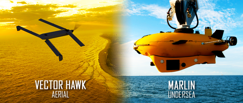 Unmanned aerial vehicle Vector Hawk (left) was launched on command from the Marlin MK2 autonomous underwater vehicle (right) during a cross-domain command and control event hosted by the U.S. Navy. (Image: Lockheed Martin)
