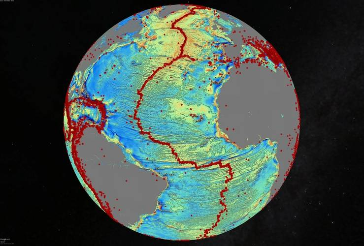 Variations in the pull of gravity over the North Atlantic reveals the fracture zones which map out the rifting an opening of the Atlantic ocean over the past 200 million years. Red dots are locations of signifi cant earthquakes (magnitude > 5.5) http://topex.ucsd.edu/grav_outreach