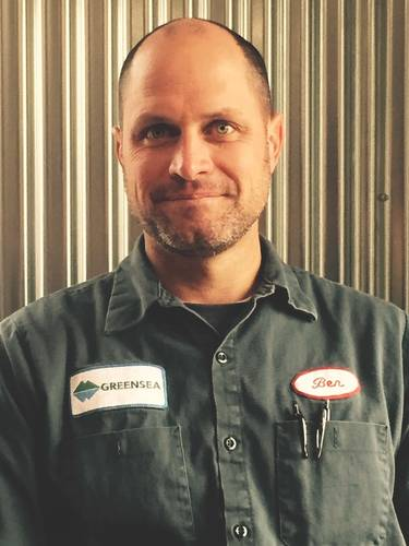 """When I started the company, literally the first day when I left the attorney's office after signing the incorporation paperwork, I got home and I put on this workshirt."" - Ben Kinnaman (Photo: Greensea)"