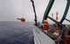 Elizabeth Steffen, scientist at NOAA's Pacific Marine Environmental Lab and University of Hawaii, deploys a Deep Argo float off Hawaii on May 16, 2018. The float was tested here in preparation for its recent release as part of a new array in the western South Atlantic off Brazil. NOAA and Vulcan collaborated to deploy 27 Deep Argo floats off Brazil that report back ocean temperature and salinity data from the surface to the seafloor. Credit: Blake Watkins/ University of Hawaii