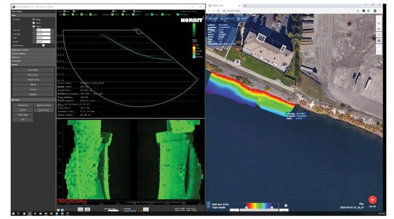Single laptop screen for full bathymetric data acquisition. NORBIT WINGHEAD i77h with DCT.