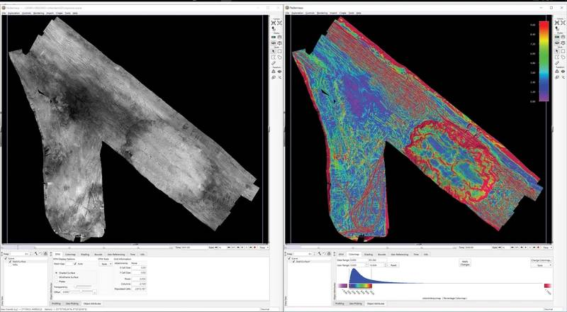 Figure 4: Typical Fledermaus Geocoder Toolbox results showing the backscatter mosaic and derived seabed slope.  Seabed roughness, average grain size and an estimation of the seabed material are also possible.