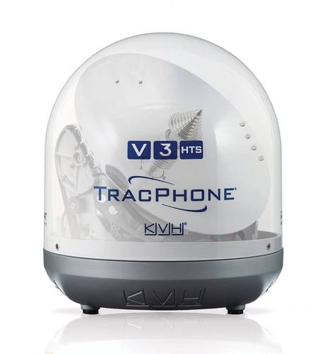The newest satellite communications antenna system from KVH, the TracPhone V3-HTS is designed to deliver data speeds of 5Mbps/down and 2 Mbps/up, faster than systems much larger than the V3-HTS's 39 cm diameter.